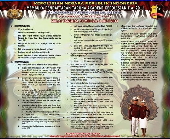 Pendaftaran Calon Taruna / Taruni Akademi Kepolisian (syarat akpol