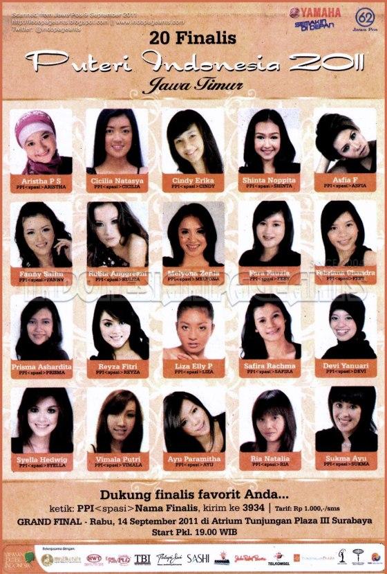 foto foto dan daftar nama 20 finalis putri indonesia 2011 jawa timur